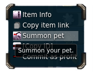 Right click menu on Pet Statue